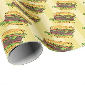 Retro Cheese Burger Graphic Food Pattern Wrapping Paper