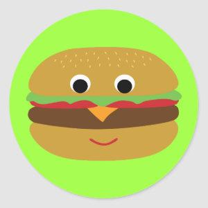 Retro Cheeseburger Classic Round Sticker
