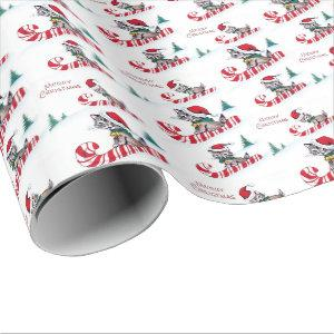 Retro Christmas cats party Wrapping Paper