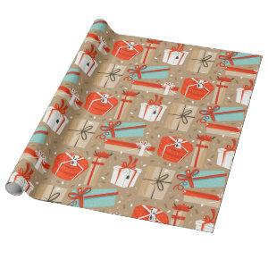 Retro Christmas Packages Wrapping Paper