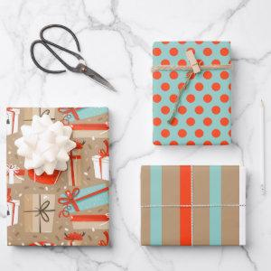 Retro Christmas Packages Wrapping Paper Set