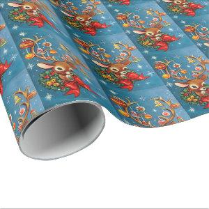 Retro Christmas Reindeer Holiday party wrap Wrapping Paper