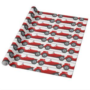 Retro Classic Red Race Car Gift Wrapping Paper