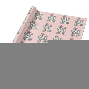 Retro Cute French Poodle Birthday Wrapping Paper