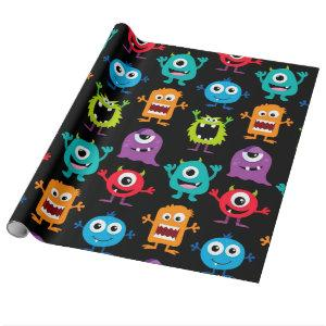 Retro Cute Monster Pattern Wrapping Paper