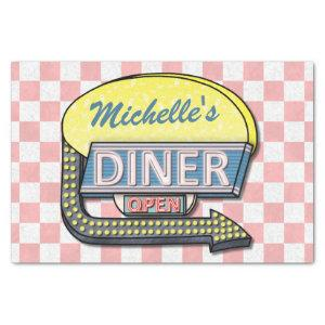Retro Diner Sign 50s Pink Checkered Personalized Tissue Paper