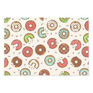 Retro Donut Pattern Cute Colorful Style Wrapping Paper Sheets