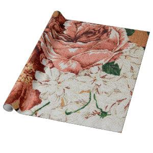Retro Floral Fabric print. Wrapping Paper