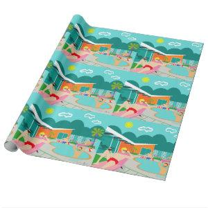 Retro Gay Pool Party Wrapping Paper
