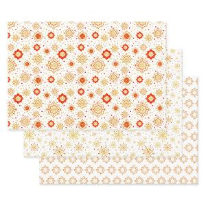 Retro Graphic Starburst Snowflakes Patterns Wrapping Paper Sheets