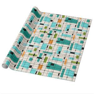 Retro Grid & Starbursts Wrapping Paper
