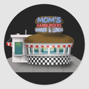 Retro Hamburger Stand Classic Round Sticker