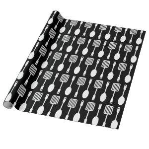 Retro Kitchen Cooking Utensils Pattern Wrapping Paper