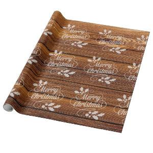 Retro Merry Christmas Typography Barn Wood Wrapping Paper