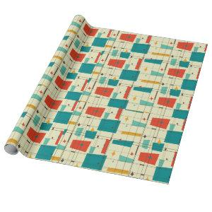 Retro Mid Century Mod Atomic Space Age Teal Red Wrapping Paper
