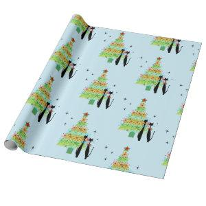 Retro Mid Century Modern Cool Cat Christmas Tree Wrapping Paper