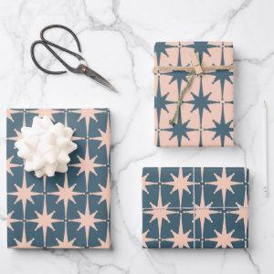 Retro Midcentury Modern 50s Starbursts Blush Teal Wrapping Paper Sheets