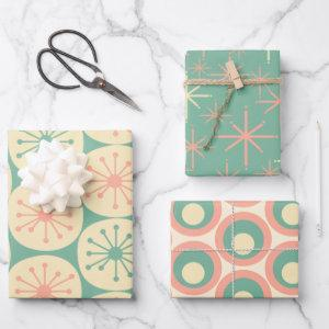 Retro Mod Patterns in Mint, Blush Pink, and Cream  Sheets