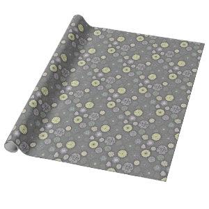 Retro Mums and Daisies on Gray Wrapping Paper