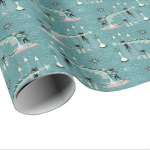 Retro Naughty Kitty Christmas Wrapping Paper