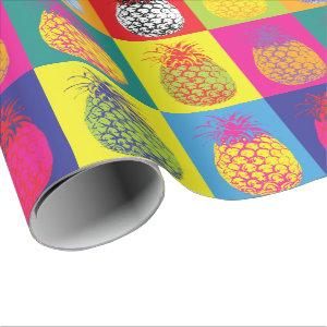 Retro Pineapple Pop Art Bright Bold Modern Pattern Wrapping Paper