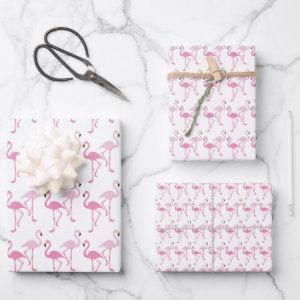 Retro Pink Flamingo Pattern Theme Wrapping Paper Sheets