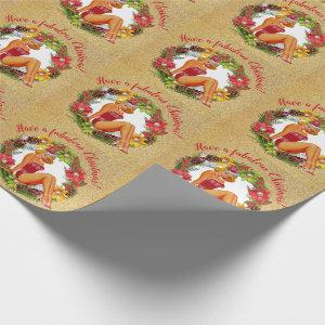 Retro Pinup Wreath Fabulous Christmas Wrapping Paper