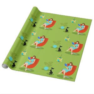 Retro Reading Woman Wrapping Paper