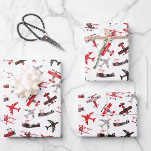 Retro Red and Black WWII Military Airplane Pattern Wrapping Paper Sheets