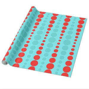 Retro Red and Turquoise Jumbo Dots Wrapping Paper