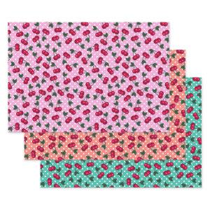 Retro Rockabilly Cherries on Polka Dots Wrapping Paper Sheets
