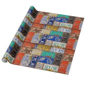 retro rusty old license plates wrapping paper