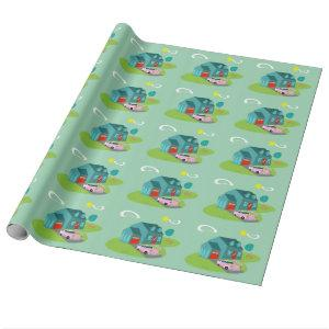 Retro Suburban House Wrapping Paper
