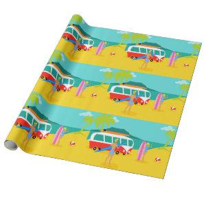 Retro Surfer Couple Wrapping Paper