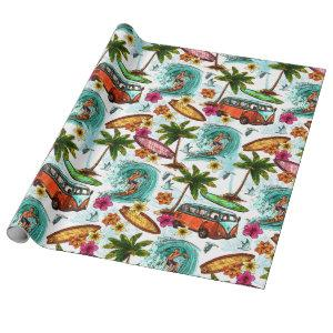 Retro Surfing Wrapping Paper