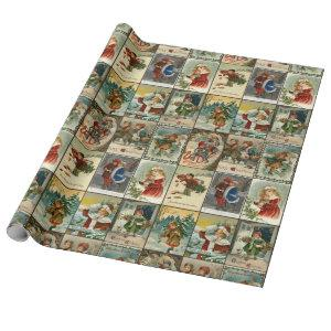Retro Vintage Christmas Cards Collage Wrapping Paper