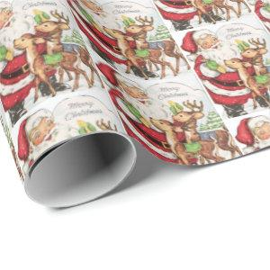 retro vintage Christmas cat Holiday tiled