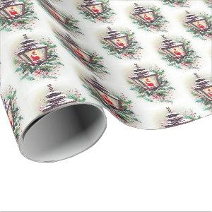 Retro vintage Christmas lamp party Wrapping Paper