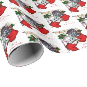 Retro vintage Christmas party cat wrap Wrapping Paper