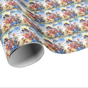 Retro vintage Easter bunny Holiday party Wrapping Paper