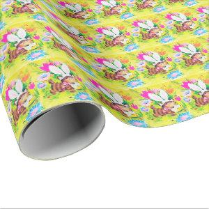 retro vintage Easter cat Holiday party Wrapping Paper