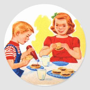 Retro Vintage Kitsch Kids Eating Hamburgers Burger Classic Round Sticker