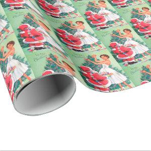 Retro Vintage lady and Santa party wrap Wrapping Paper