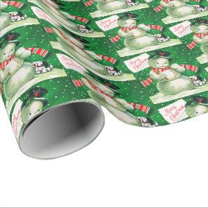 Retro Vintage snowman Holiday party wrap Wrapping Paper
