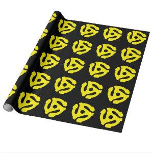 Retro Vintage Yellow 45 spacer DJ Wrapping Paper