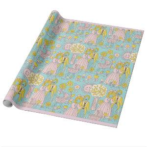 RETRO Welcome new baby girl Wrapping Paper