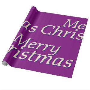 Rich Purple Merry Christmas Wrapping Paper