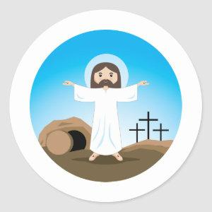 Risen Christ Classic Round Sticker