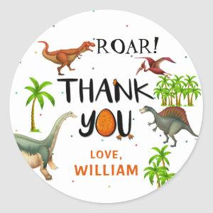 Roar Dinosaur Jungle Birthday Thank You Classic Round Sticker