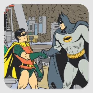 Robin And Batman Handshake Square Sticker